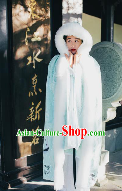 Traditional Chinese Hanfu Han Dynasty Costume Princess Cloak, Elegant Hanfu Clothing Chinese Ancient Palace Lady Embroidery Crane Green Mantle
