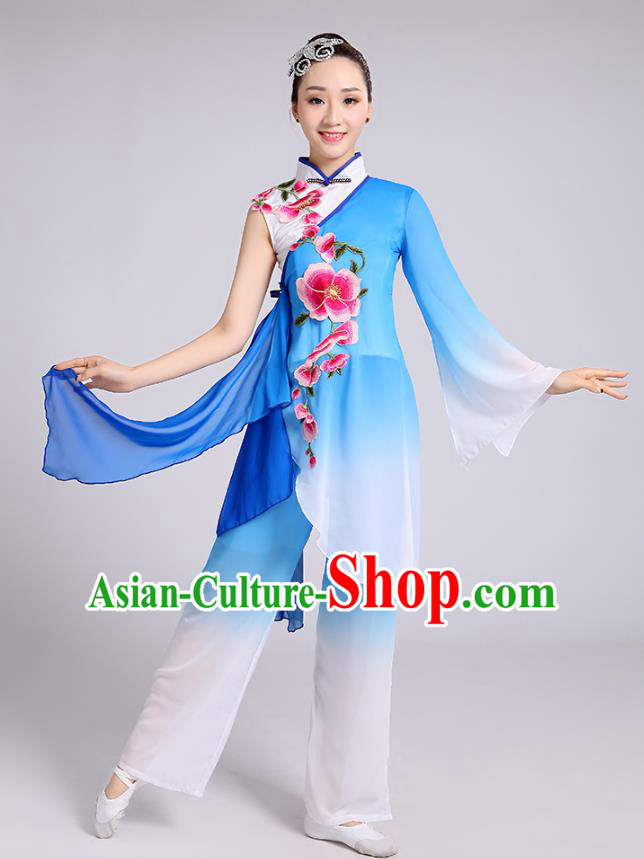 Traditional Chinese Classical Dance Yangge Fan Dance Costume, Chinese Classical Umbrella Dance Blue Uniform Yangko Embroidery Clothing for Women