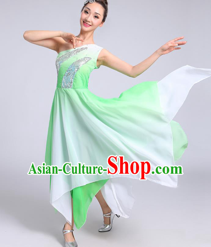 Traditional Chinese Modern Dance Yangge Fan Dance Costume, Chinese Classical Umbrella Dance Green Dress Yangko Embroidery Clothing for Women