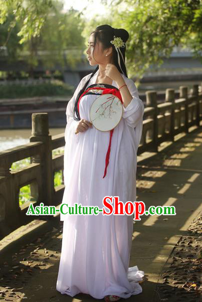 Traditional Chinese Tang Dynasty Imperial Concubine Costume Embroidery Blouse and Slip Skirt, Elegant Hanfu Clothing Chinese Ancient Princess Clothing for Women