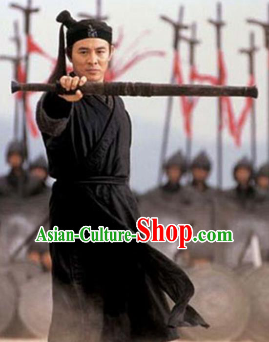Traditional Chinese Ancient Swordsman Costume, Chinese Qin Dynasty Kawaler Hanfu Black Clothing