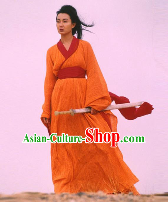 Traditional Chinese Ancient Female Swordsman Costume, Chinese Qin Dynasty Kawaler Hanfu Orange Dress Clothing for Women