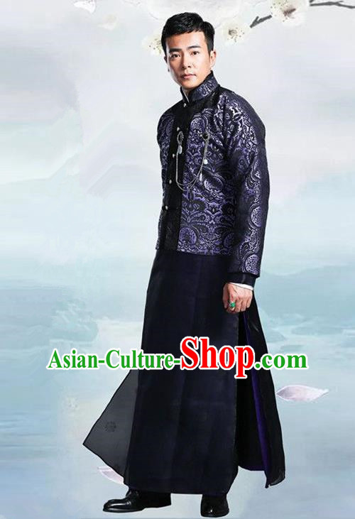 Traditional Chinese Nobility Childe Costume Navy Mandarin Jacket and Long Robe, Chinese Republic of China Young Master Embroidery Clothing for Men