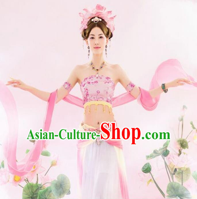 Traditional Ancient Chinese Dunhuang Flying Apsaras Dance Pink Costume, Elegant Hanfu Clothing Chinese Palace Lady Fairy Clothing for Women
