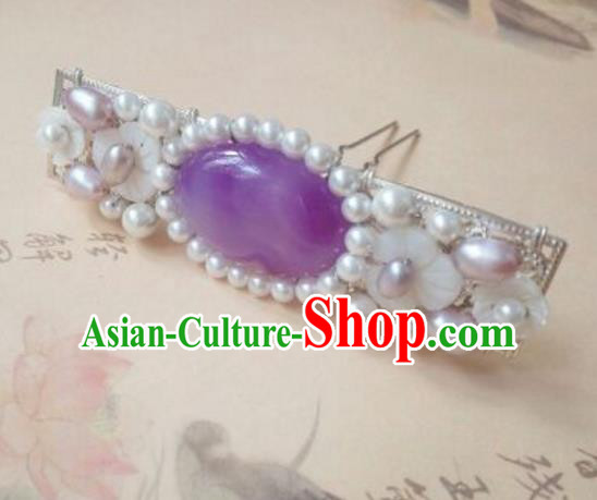 Traditional Chinese Ancient Classical Handmade Hair Accessories Purple Crystal Hair Comb, Hanfu Hair Stick Hair Fascinators Hairpins for Women