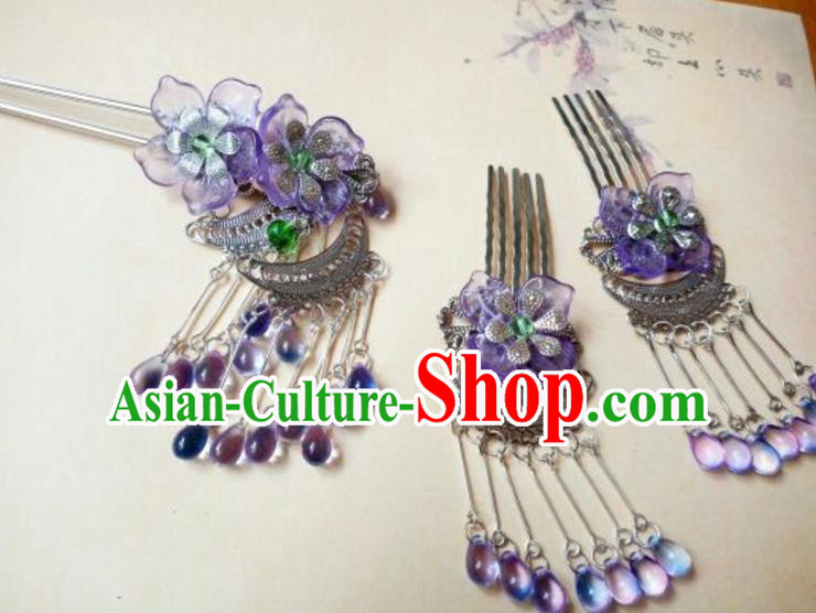 Traditional Chinese Ancient Classical Handmade Hair Accessories Purple Tassel Hair Comb Complete Set, Hanfu Hair Stick Hair Fascinators Hairpins for Women
