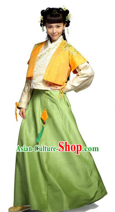 Traditional Chinese Ancient Nobility Lady Costume, Elegant Hanfu Clothing Chinese Ming Dynasty Young Lady Swordswoman Embroidery Dress Clothing