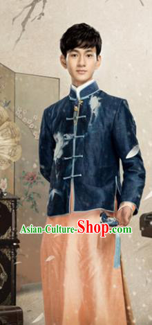 Traditional Chinese Nobility Childe Costume Long Robe, Chinese Republic of China Young Master Embroidery Clothing