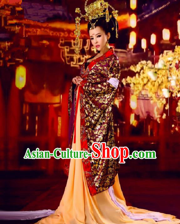 Traditional Ancient Chinese Imperial Consort Costume and Headpiece Complete Set, Elegant Hanfu Clothing Chinese Tang Dynasty Imperial Empress Tailing Embroidered Clothing