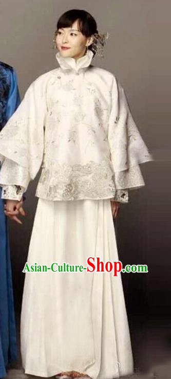 Traditional Ancient Chinese Republic of China Princess Costume White Xiuhe Suit, Elegant Hanfu Clothing Chinese Qing Dynasty Nobility Dowager Clothing for Women