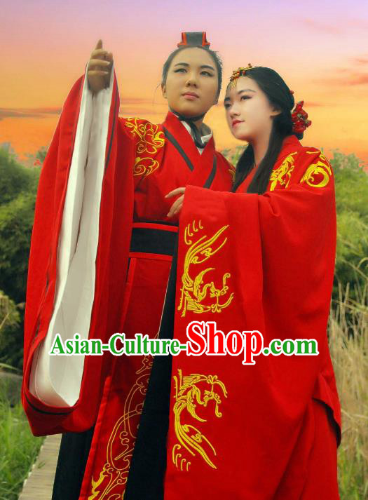 Traditional Ancient Chinese Imperial Emperor and Empress Wedding Costume, Elegant Hanfu Clothing Chinese Han Dynasty Bride and Bridegroom Embroidered Red Clothing