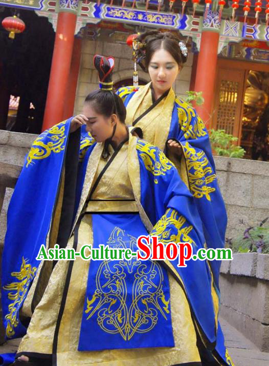 Traditional Ancient Chinese Imperial Emperor and Empress Wedding Costume Complete Set, Elegant Hanfu Clothing Chinese Han Dynasty Bride and Bridegroom Embroidered Blue Clothing
