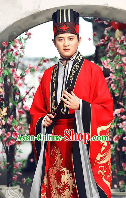 Traditional Ancient Chinese Imperial Emperor Wedding Costume, Elegant Hanfu Clothing Chinese Tang Dynasty Majesty Embroidered Red Clothing