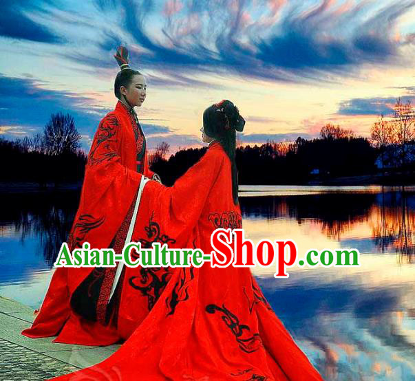 Traditional Ancient Chinese Imperial Emperor and Empress Wedding Red Costume Complete Set, Elegant Hanfu Clothing Chinese Han Dynasty Bride and Bridegroom Embroidered Clothing