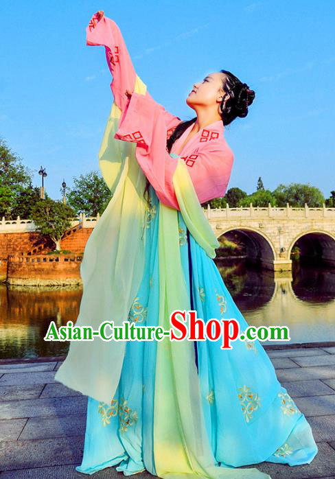 Traditional Chinese Tang Dynasty Palace Lady Costume Blue Slip Skirt, Elegant Hanfu Chinese Imperial Princess Embroidered Clothing for Women