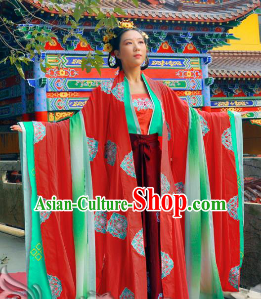 Traditional Chinese Tang Dynasty Imperial Concubine Costume Red Wide Sleeve Cardigan, Elegant Hanfu Chinese Imperial Empress Embroidered Clothing for Women