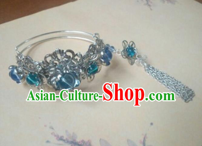 Traditional Handmade Chinese Ancient Classical Palace Lady Accessories Hanfu Bracelet Blue Beads Bangle for Women