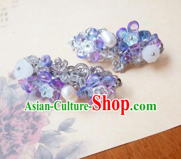 Traditional Handmade Chinese Ancient Classical Hanfu Hair Accessories Palace Lady Purple Hair Stick, Princess Hairpins Hair Claw Headwear for Women