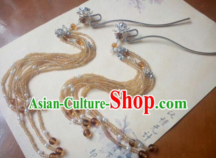 Traditional Handmade Chinese Ancient Classical Palace Lady Hair Accessories Hairpins Long Tassel Step Shake for Women