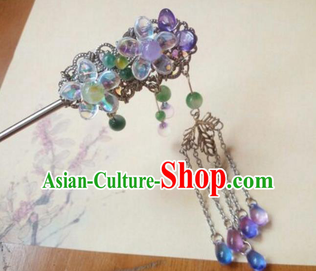 Traditional Handmade Chinese Ancient Classical Hair Accessories Hairpin Headwear Tassel Hair Stick for Women