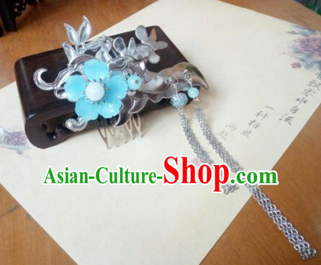 Traditional Handmade Chinese Ancient Classical Hair Accessories Hairpins Blue Flower Tassel Hair Comb for Women