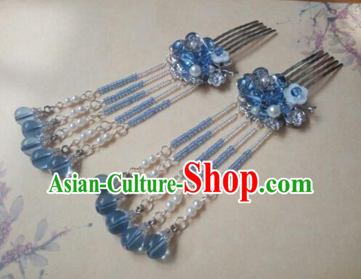 Traditional Handmade Chinese Ancient Classical Hair Accessories Hairpins Blue Beads Tassel Hair Comb for Women