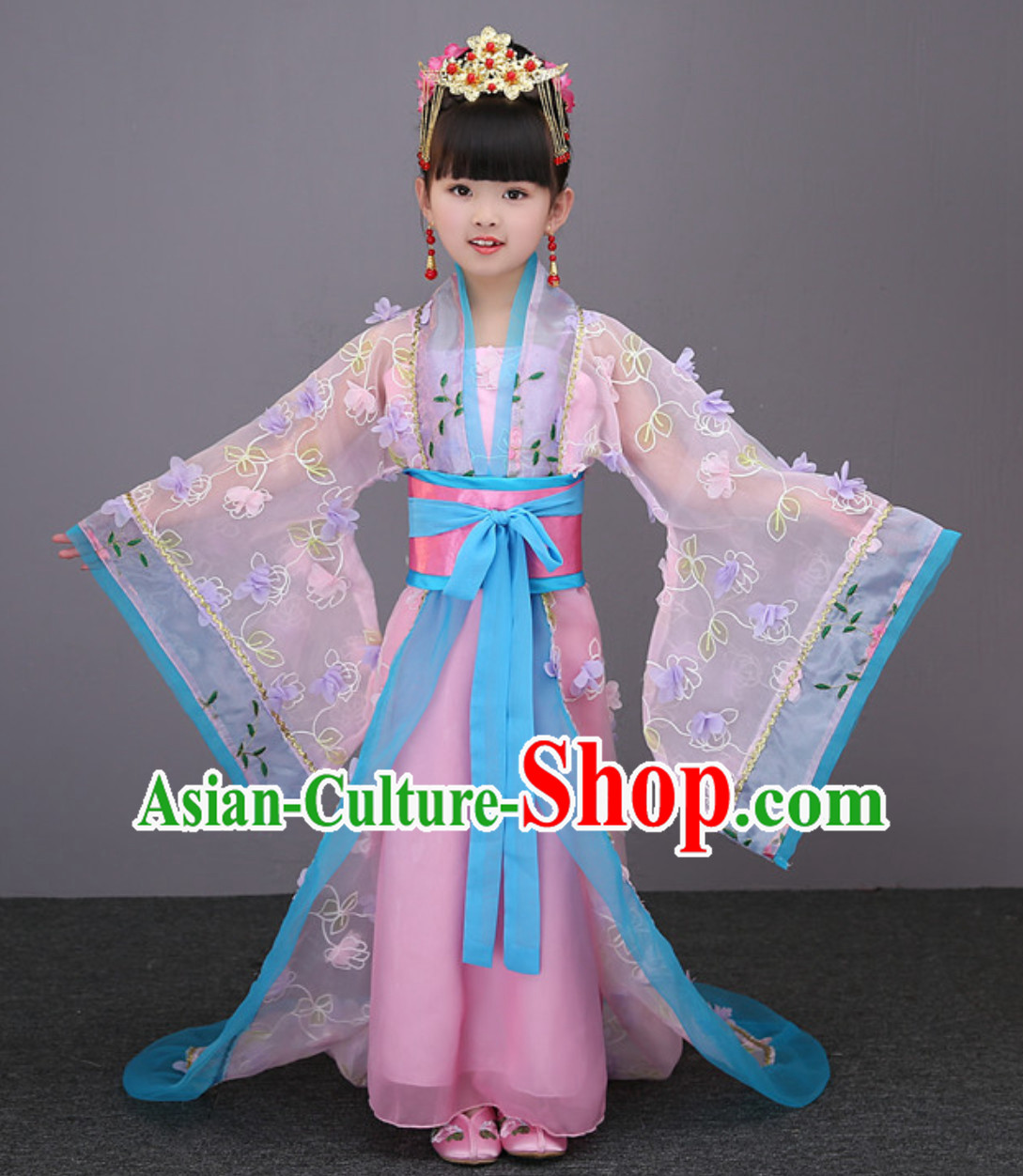 Pink Color Ancient Chinese Imperial Female Emperor Clothing and Hair Decorations Complete Set for Women