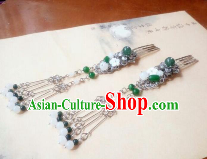 Traditional Handmade Chinese Ancient Classical Hair Accessories Green Bead Tassel Hair Comb Headwear for Women