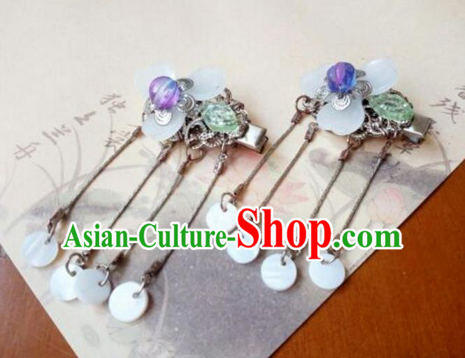 Traditional Handmade Chinese Ancient Classical Hair Accessories Coloured Glaze Purple Hair Claw for Women
