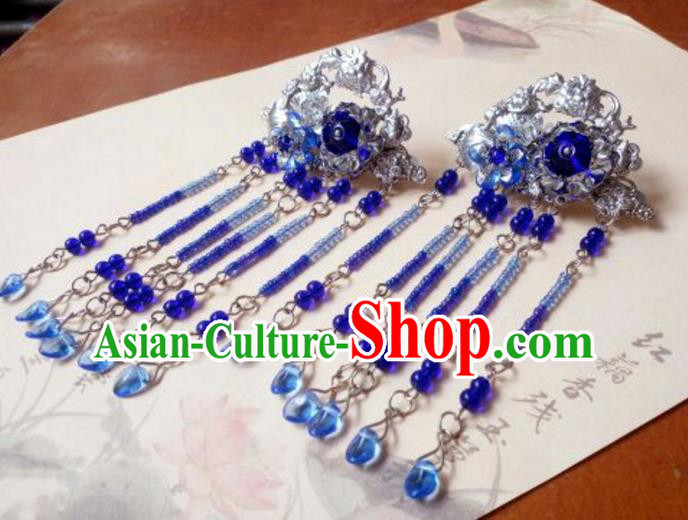 Traditional Handmade Chinese Ancient Classical Hanfu Hair Accessories, Princess Royalblue Tassel Hairpins Hair Claw Headwear for Women