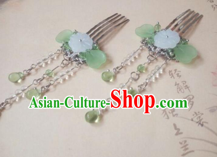 Traditional Handmade Chinese Ancient Classical Hair Accessories Green Jade Tassel Hair Comb for Women