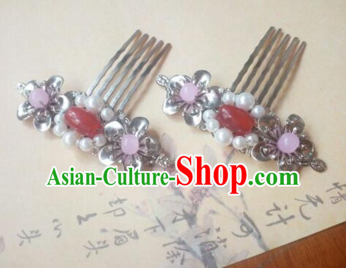 Traditional Handmade Chinese Ancient Classical Hanfu Hair Accessories Red Bead Hair Comb, Princess Palace Lady Hairpins Hair Stick for Women
