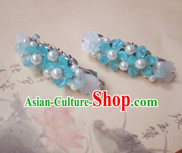 Traditional Handmade Chinese Ancient Classical Hanfu Hair Accessories Blue Hair Claw, Princess Palace Lady Hairpins Hair Stick for Women