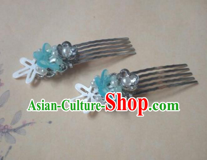 Traditional Handmade Chinese Ancient Classical Hanfu Hair Accessories Blue Hairpins, Princess Headpiece Hair Comb for Women
