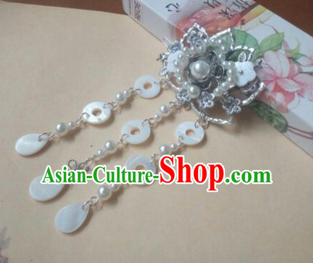Traditional Handmade Chinese Ancient Classical Hanfu Hair Accessories White Tassel Hair Claw, Princess Palace Lady Hairpins Hair Stick for Women