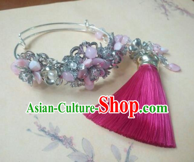 Traditional Handmade Chinese Ancient Classical Hanfu Bracelet, Princess Palace Lady Pink Bangle for Women