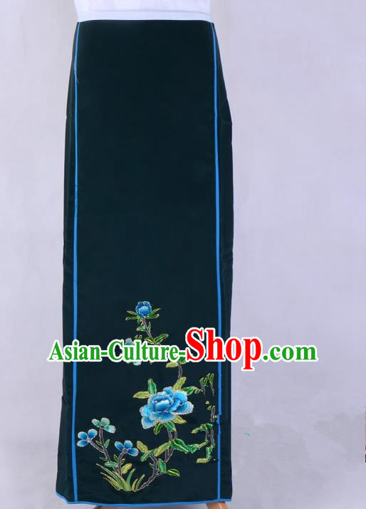 Top Grade Professional Beijing Opera Diva Costume Embroidered Skirt, Traditional Ancient Chinese Peking Opera Princess Embroidery Pleated Skirt