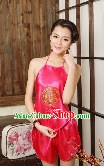 Traditional Chinese Ming Dynasty Princess Rosy Embroidered Bellyband, China Ancient Palace Lady Stomachers Embroidery Undergarment for Women