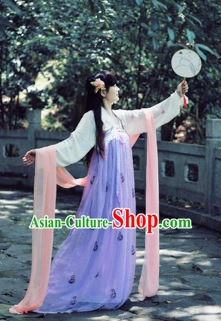 Asian Fashion Oriental China Costume, Elegant Hanfu Clothing Chinese Tang Dynasty Imperial Princess Tailing Embroidered Clothing for Women