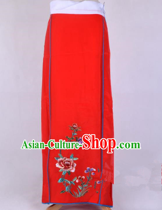 Top Grade Professional Beijing Opera Diva Costume Embroidered Red Skirt, Traditional Ancient Chinese Peking Opera Princess Embroidery Pleated Skirt