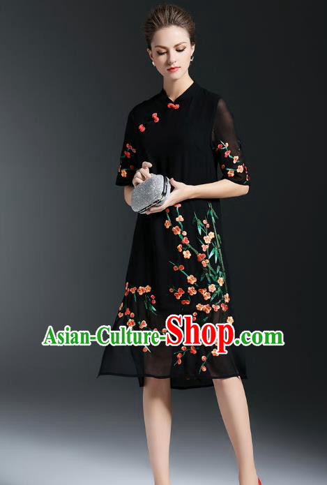 Top Grade Asian Chinese Costumes Classical Embroidery Plum Blossom Slant Opening Cheongsam, Traditional China National Black Chiffon Chirpaur Dress Plated Buttons Qipao for Women