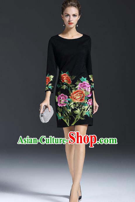 Top Grade Asian Chinese Costumes Classical Embroidery Peony Dress, Traditional China National Black Chirpaur Qipao for Women