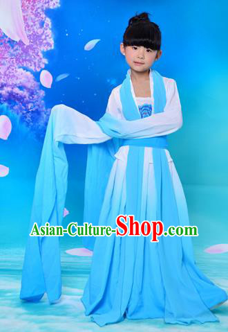 Traditional Asian Oriental Water Sleeve Costumes, China Tang Dynasty Hanfu Princess Fairy Blue Dress for Kids