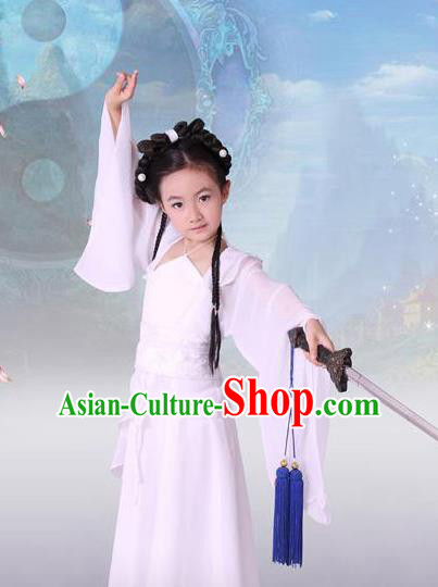 Traditional Asian Oriental Swordswoman Costumes, China Tang Dynasty Princess Hanfu Fairy Dress for Kids