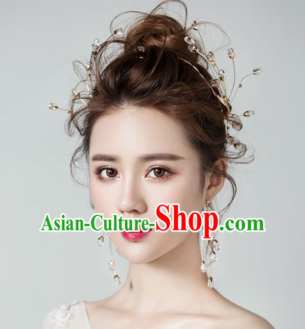 Top Grade Handmade Classical Golden Hair Accessories Baroque Style Princess Crystal Hair Clasp Headwear for Women