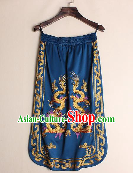 Asian Chinese Oriental Costumes Classical Embroidery Dragons Blue Skirts, Traditional China National Chirpaur Tang Suit Bust Skirt for Women