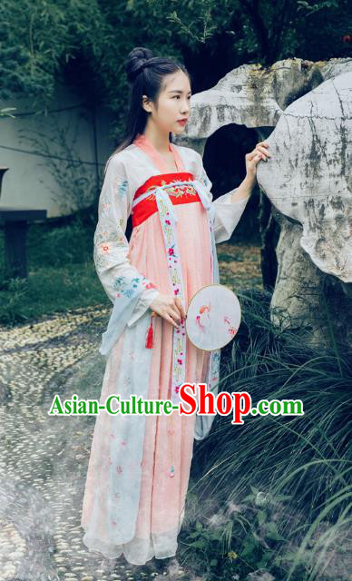 Traditional Asian Oriental China Costume Embroidery Young Lady Fairy Slip Skirts Complete Set, Chinese Hanfu Tang Dynasty Princess Embroidered Dress for Women