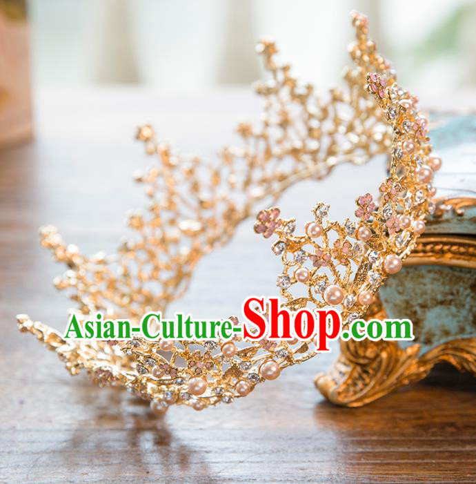 Top Grade Handmade Classical Hair Accessories Baroque Style Princess Crystal Pearls Royal Crown Round Hair Clasp Headwear for Women
