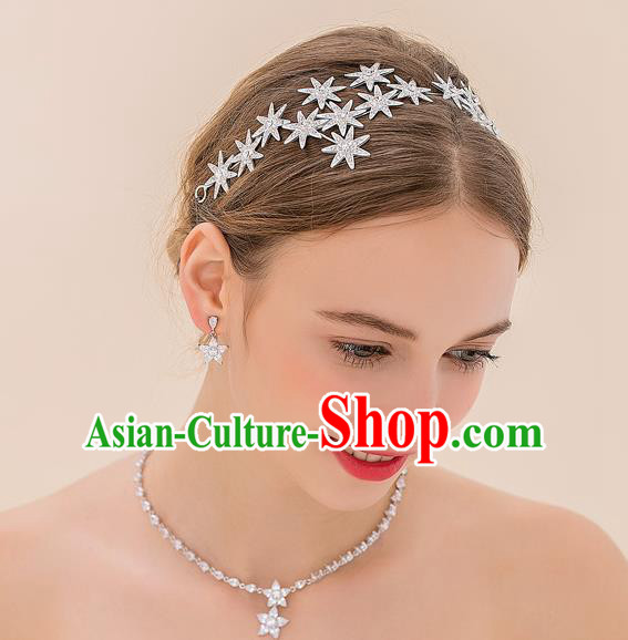 Top Grade Handmade Classical Hair Accessories Baroque Style Princess Crystal Stars Hair Clasp Headwear for Women