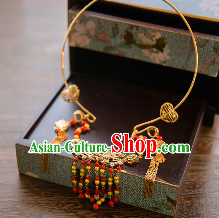 Aisan Chinese Handmade Classical Jewelry Accessories Tassel Necklace, China Xiuhe Suit Dragon and Phoenix Tassel Necklet for Women